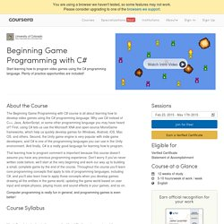 Beginning Game Programming with C#