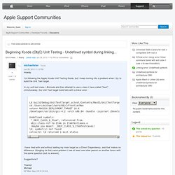 Support - Discussions - Beginning Xcode (ObjC) Unit Testing - ...