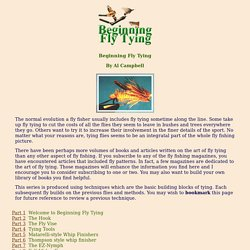 Beginning Fly Tying - Fly Anglers Online