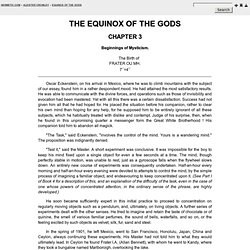 Beginnings of Mysticism - Chapter 3 - The Equinox of the Gods