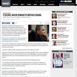 It begins: Major demand to impeach Obama