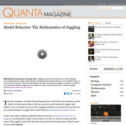 Model Behavior: The Mathematics of Juggling