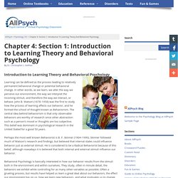 Learning Theory and Behavioral Psychology in Psychology 101 at AllPsychOnline
