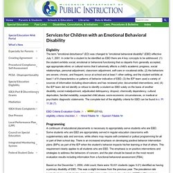 Services for Children with an Emotional Behavioral Disability