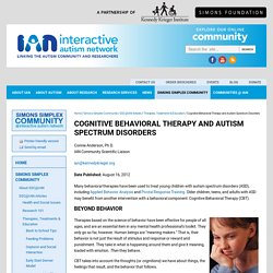 Cognitive Behavioral Therapy and Autism Spectrum Disorders