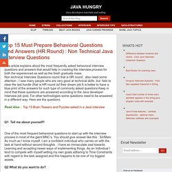 Non Technical Java Interview Questions