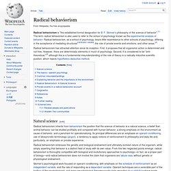 Radical behaviorism