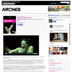 Behaviour Festival 2014 > Arts > The Arches, Glasgow