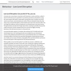 Behaviour - Low Level Disruption