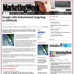 Google adds behavioural targeting to AdWords