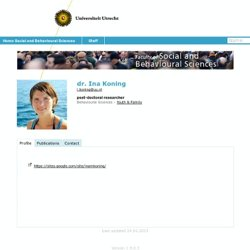dr. Ina Koning - Social and Behavioural Sciences