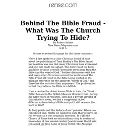 Behind The Bible Fraud - What Was The Church Trying To Hide?