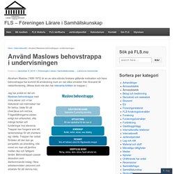 Använd Maslows behovstrappa i undervisningen