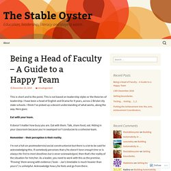 Being a Head of Faculty – A Guide to a Happy Team