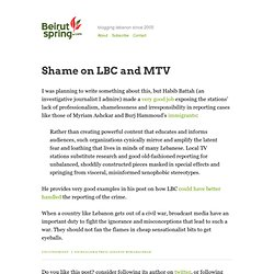 Shame on LBC and MTV