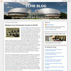 ECHR BLOG: (Belgian) Jury Trial System Counter to ECHR