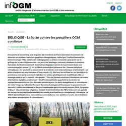 INFOGM 21/11/16 BELGIQUE - La lutte contre les peupliers OGM continue