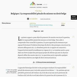 Belgique / La responsabilité pénale du mineur en droit belge