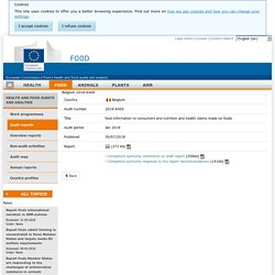 DG SANCO - JUILLET 2018 - Rapport OAV : Belgium 2018-6406 food information to consumers and nutrition and health claims made on foods Jan 2018 Report details