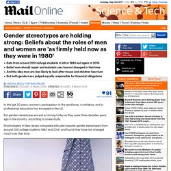 Beliefs about the roles of men and women are 'as firmly held now as in 1980'
