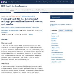 Making it work for me: beliefs about making a personal health record relevant and useable