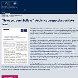 """""""News you don't believe"""": Audience perspectives on fake news"""