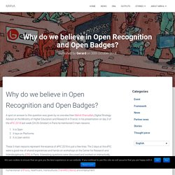 Why do we believe in Open Recognition and Open Badges? – MIRVA