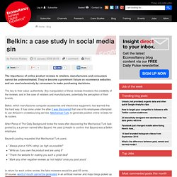 Belkin: a case study in social media sin