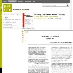 Du Bellay : Les Regrets, sonnet XVI