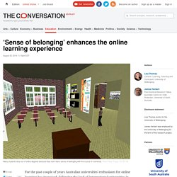 'Sense of belonging' enhances the online learning experience