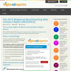 Feb 2015 #highered Benchmarking Web Analytics Report [RESEARCH]