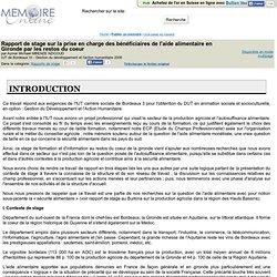 IUT BORDEAUX III - 2008 - Rapport de stage sur la prise en charge des beneficiaires de l'aide alimentaire en Gironde par les res