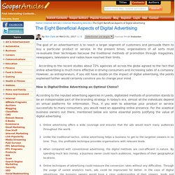 The Eight Beneficial Aspects of Digital Advertising