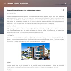 Beneficial Considerations In Leasing Apartments