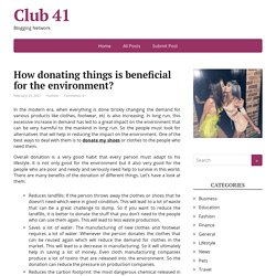 How donating things is beneficial for the environment? – Club 41