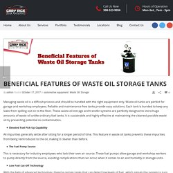 Some Beneficial Features Of Waste Oil Storage Tank