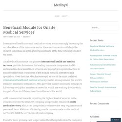 Beneficial Module for Onsite Medical Services