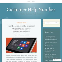 How Beneficial is the Microsoft Office Online Server November Release