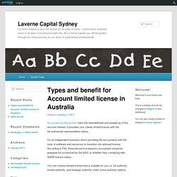 Types and benefit for Account limited license in Australia