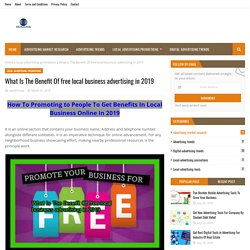 What Is The Benefit Of free local business advertising in 2019