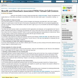 Benefit and Drawback Associated With Virtual Call Centers