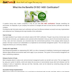 What Are the Benefits Of ISO 14001 Certification?