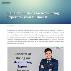 Benefits of Hiring an Accounting Expert for your Business!