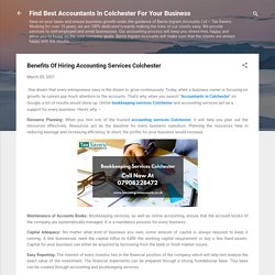 Benefits Of Hiring Accounting Services Colchester