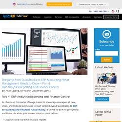 Benefits of ERP Analytics, Reporting & Finance Control