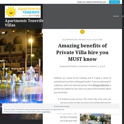 Amazing benefits of Private Villa hire you MUST know – Apartments Tenerife Villas