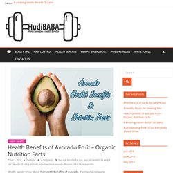 Health Benefits of Avocado Fruit - Organic Nutrition Facts