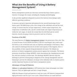 What Are the Benefits of Using A Battery Management System?