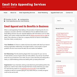 Email Append and its Benefits in Business - Email Data Appending Services