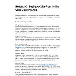 Benefits Of Buying A Cake From Online Cake Delivery Shop